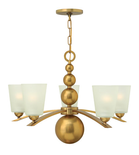 Hinkley 3445VS Zelda 5 Light 27 inch Vintage Brass Chandelier Ceiling Light, Etched Glass photo