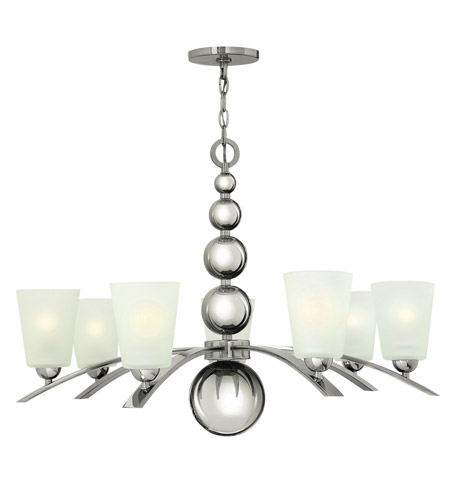 Hinkley 3446PN Zelda 7 Light 32 inch Polished Nickel Chandelier Ceiling Light, Etched Glass photo