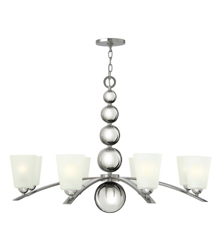 Hinkley 3448PN Zelda 8 Light 38 inch Polished Nickel Chandelier Ceiling Light, Etched Glass photo