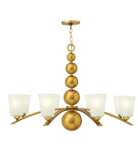 Hinkley 3448VS Zelda 8 Light 38 inch Vintage Brass Chandelier Ceiling Light, Etched Glass photo