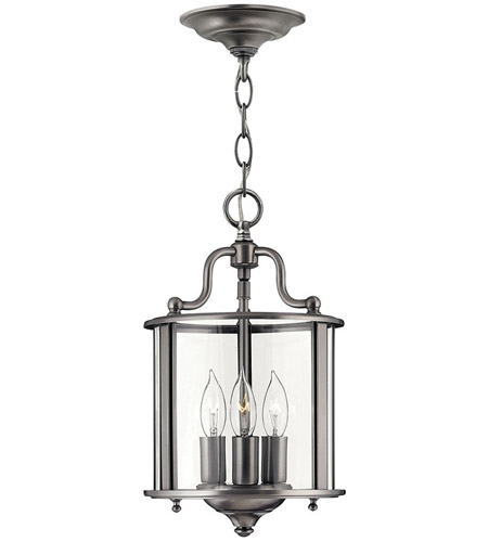Hinkley 3470PW Gentry 3 Light 8 inch Pewter Foyer Light Ceiling Light in Clear Rounded Panels photo