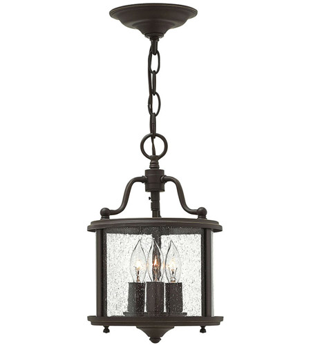 Hinkley 3470OB Gentry 3 Light 8 inch Olde Bronze Foyer Ceiling Light in Clear Seedy Panels photo