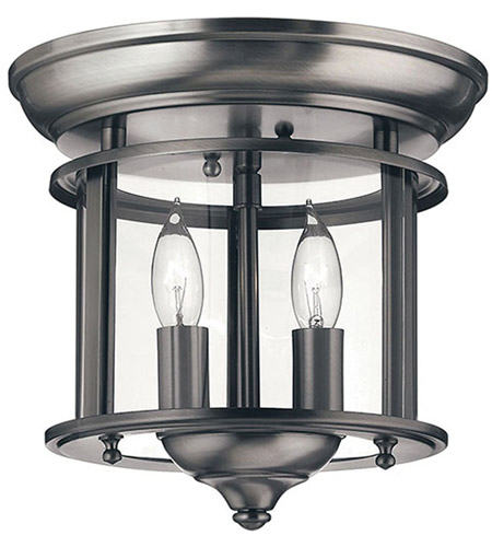 Hinkley 3472PW Gentry 2 Light 10 inch Pewter Foyer Flush Mount Ceiling Light in Clear Rounded Panels photo