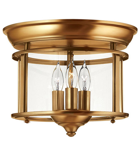 Hinkley 3473HR Gentry 3 Light 12 inch Heirloom Brass Foyer Flush Mount Ceiling Light in Clear Rounded Panels, Clear Rounded Panels Glass photo