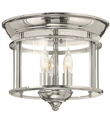 Hinkley 3473PN Gentry 3 Light 12 inch Polished Nickel Foyer Flush Mount Ceiling Light, Clear Rounded Panels Glass photo