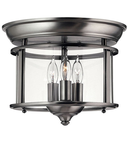 Hinkley 3473PW Gentry 3 Light 12 inch Pewter Semi Flush Ceiling Light in Clear Bent photo