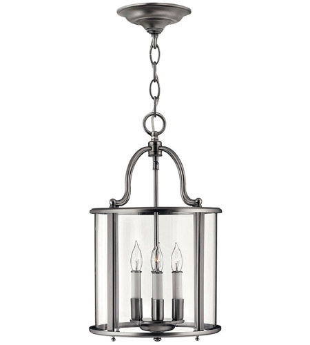Hinkley 3474PW Gentry 4 Light 12 inch Pewter Foyer Light Ceiling Light in Clear Rounded Panels photo