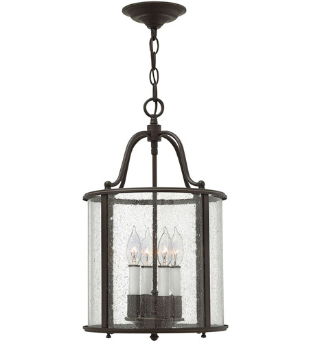 Hinkley 3474OB Gentry 4 Light 12 inch Olde Bronze Foyer Ceiling Light in Clear Seedy Panels photo