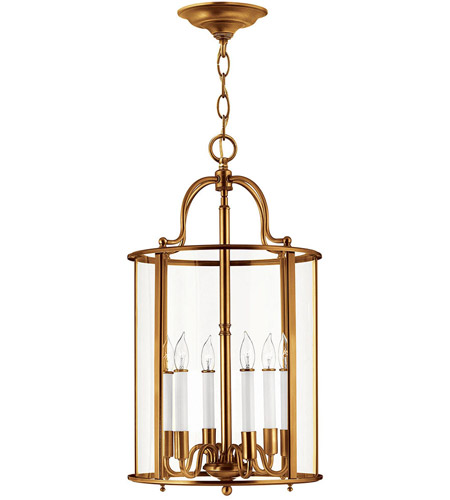 Hinkley 3478HR Gentry 6 Light 14 inch Heirloom Brass Foyer Light Ceiling Light in Clear Rounded Panels, Clear Rounded Panels Glass photo