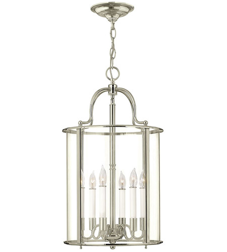 Hinkley 3478PN Gentry 6 Light 14 inch Polished Nickel Foyer Light Ceiling Light in Clear Rounded Panels, Clear Rounded Panels Glass photo