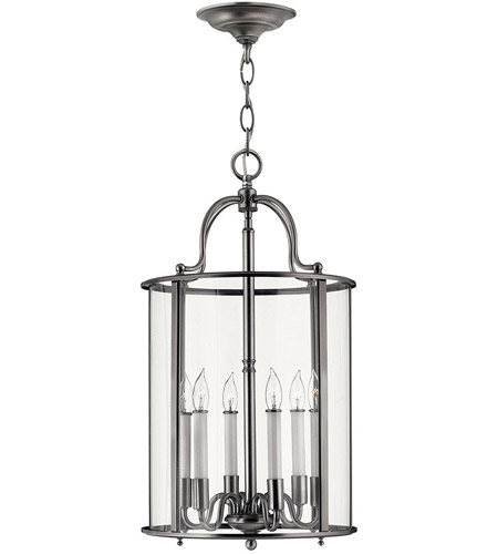 Hinkley 3478PW Gentry 6 Light 14 inch Pewter Hanging Foyer Ceiling Light in Clear Bent photo