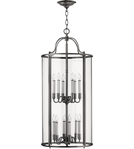 Hinkley 3479PW Gentry 12 Light 17 inch Pewter Hanging Foyer Ceiling Light in Clear Bent photo