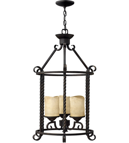 Hinkley Lighting Casa 3 Light Hanging Foyer in Olde Black 3504OL