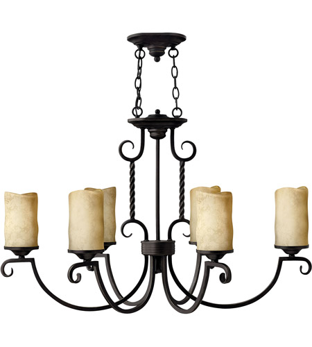 Hinkley 3508OL Casa 6 Light 36 inch Olde Black Chandelier Ceiling Light, Oval photo