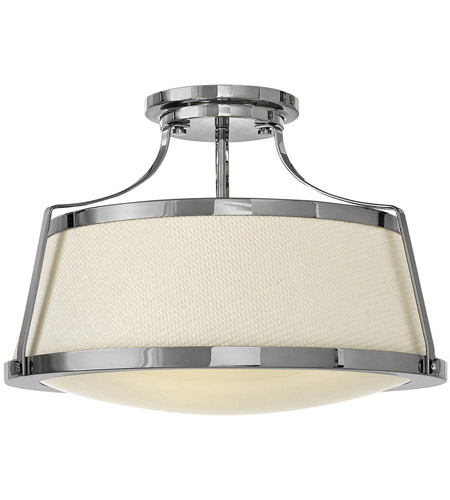 Hinkley 3522CM Charlotte 3 Light 20 inch Chrome Foyer Semi-Flush Mount Ceiling Light photo