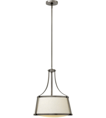 Hinkley 3523AN Charlotte 3 Light 16 inch Antique Nickel Inverted Pendant Ceiling Light, Off-White Fabric Shade photo