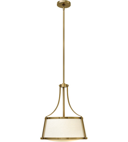 Hinkley 3523BC Charlotte 3 Light 16 inch Brushed Caramel Foyer Ceiling Light in Etched, Off-White Fabric Shade photo