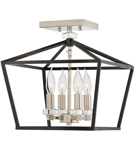 Hinkley 3533BK Stinson 4 Light 13 inch Black Semi-Flush Chandelier Ceiling Light photo