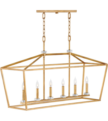 quality design d120b d2415 Stinson 6 Light 42 inch Distressed Brass Linear Chandelier Ceiling Light