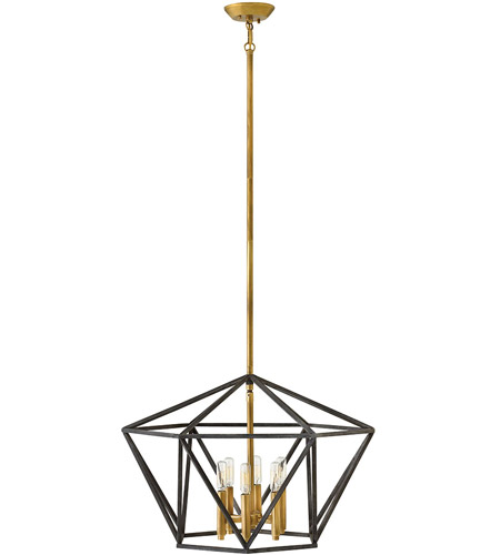 Hinkley 3576DZ Theory 6 Light 24 inch Aged Zinc Chandelier Ceiling Light, Single Tier photo