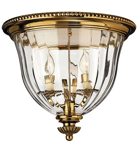 Hinkley Lighting Cambridge 3 Light Flush Mount in Burnished Brass 3612BB