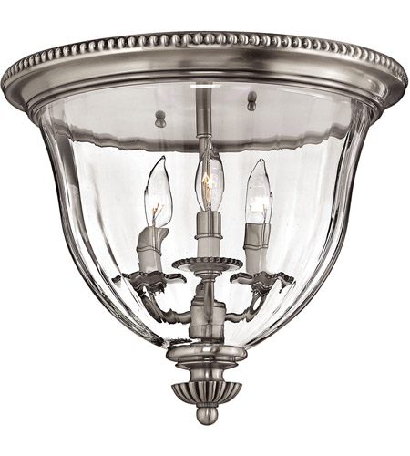 Hinkley 3612PW Cambridge 3 Light 15 inch Pewter Foyer Flush Mount Ceiling Light  photo