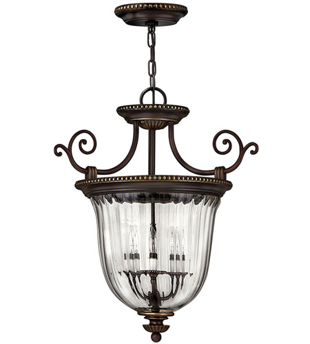 Hinkley 3613ob Cambridge 3 Light 21 Inch Olde Bronze Foyer Pendant Ceiling Combo Mount