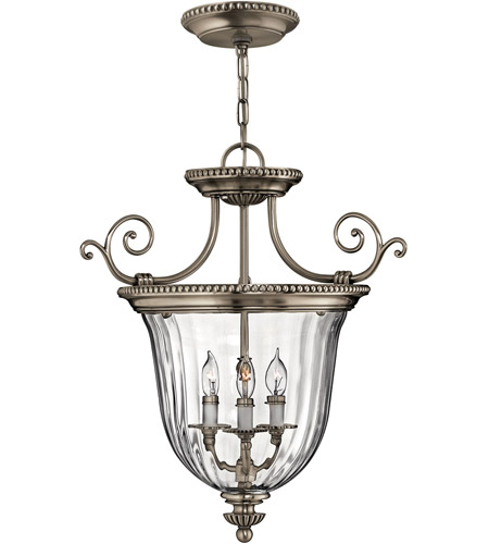 Hinkley 3613PW Cambridge 3 Light 21 inch Pewter Hanging Foyer Ceiling Light photo