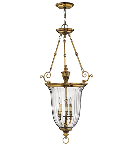 Hinkley 3614BB Cambridge 3 Light 23 inch Burnished Brass Hanging Foyer Ceiling Light photo