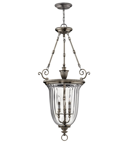 Hinkley 3614PW Cambridge 3 Light 23 inch Pewter Hanging Foyer Ceiling Light photo