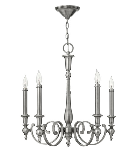 Hinkley Lighting Yorktown 5 Light Chandelier in Antique Nickel 3625AN