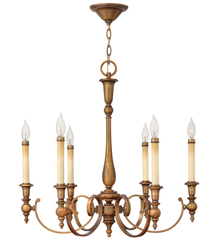 Hinkley Lighting Yorktown 6 Light Chandelier in Brushed Bronze 3626BR