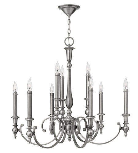 Hinkley Lighting Yorktown 9 Light Chandelier in Antique Nickel 3628AN