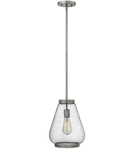 Hinkley 3684BN Finley 1 Light 10 inch Brushed Nickel Mini-Pendant Ceiling Light, Clear Seedy Glass photo
