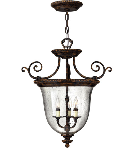 Hinkley 3713FB Rockford 3 Light 21 inch Forum Bronze Hanging Foyer Ceiling Light photo