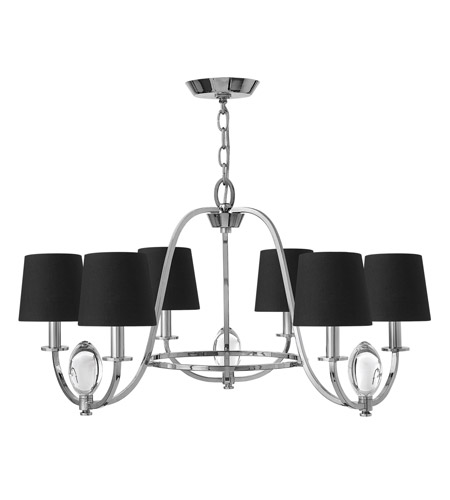 Hinkley 3756cm Marielle 6 Light 26 Inch Chrome Chandelier Ceiling Black Silk Gold Lined