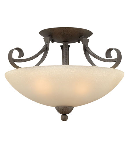 Hinkley Lighting Middlebury 3 Light Semi Flush in Forged Iron 3761FI