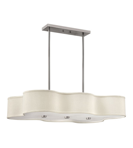 Hinkley 3802BN-LED Cirrus 1 Light 36 inch Brushed Nickel Chandelier Ceiling Light in LED, Ivory Fabric Hardback Shade  photo