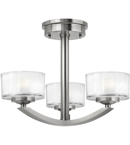 Hinkley Lighting Meridian 3 Light Semi Flush in Brushed Nickel 3871BN