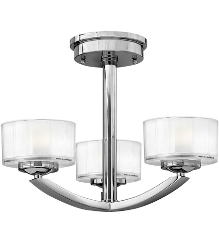 Hinkley 3871CM Meridian 3 Light 16 inch Chrome Bath Semi-Flush Mount Ceiling Light photo