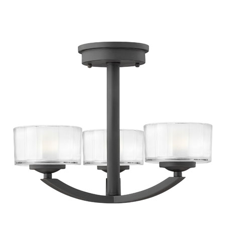 Hinkley Lighting Meridian 3 Light Semi Flush in Satin Black 3871SK