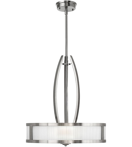 Hinkley 3872BN Meridian 3 Light 20 inch Brushed Nickel Inverted Pendant Ceiling Light photo