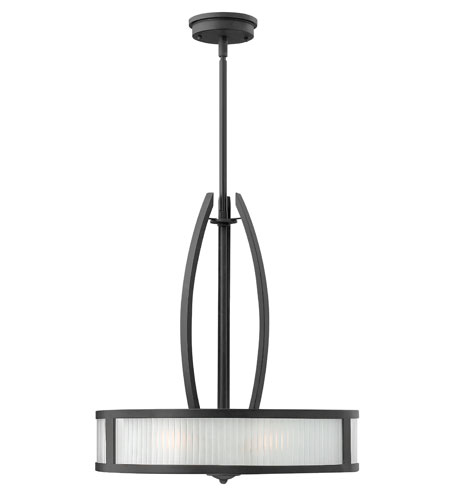 Hinkley Lighting Meridian 3 Light Hanging Foyer in Satin Black 3872SK