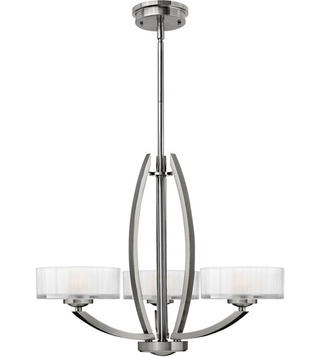 Hinkley 3873BN Meridian 3 Light 24 inch Brushed Nickel Chandelier Ceiling Light photo