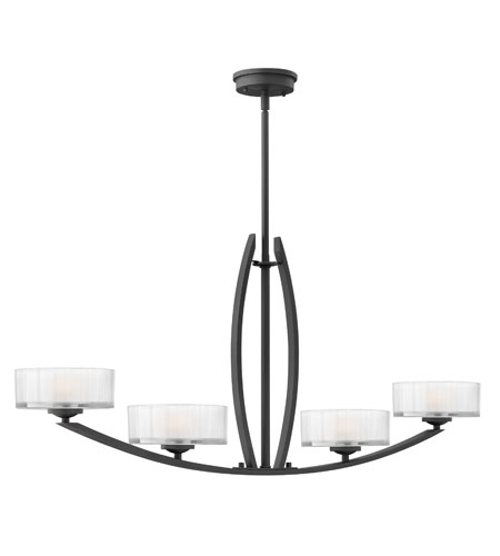 Hinkley Lighting Meridian 4 Light Chandelier in Satin Black 3874SK photo