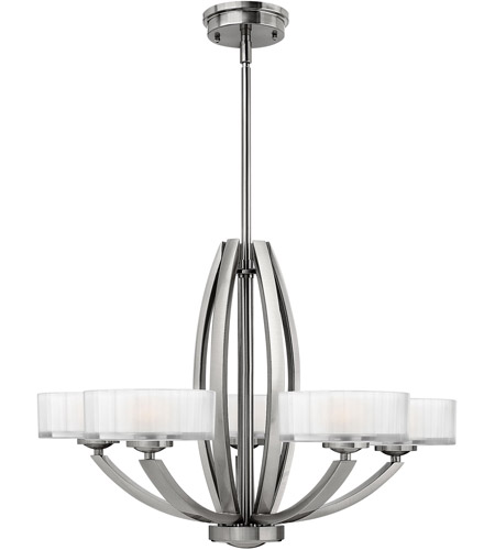 Hinkley 3875BN Meridian 5 Light 27 inch Brushed Nickel Chandelier Ceiling Light photo