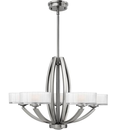 Hinkley Lighting Meridian 5 Light Chandelier in Brushed Nickel 3875BN