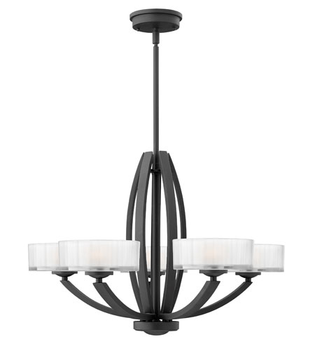 Hinkley Lighting Meridian 5 Light Chandelier in Satin Black 3875SK photo
