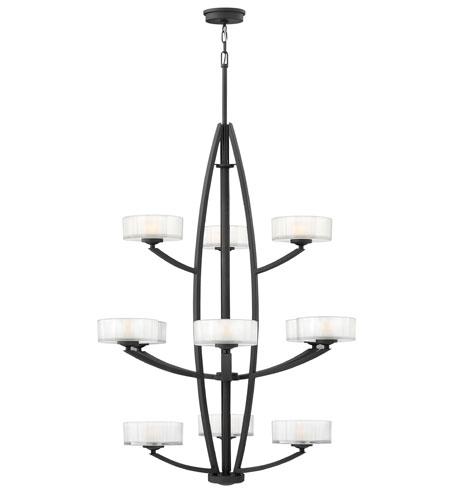 Hinkley Lighting Meridian 12 Light Hanging Foyer in Satin Black 3876SK