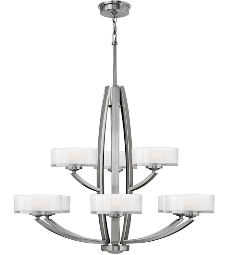 Hinkley 3878BN Meridian 9 Light 34 inch Brushed Nickel Foyer Chandelier Ceiling Light photo